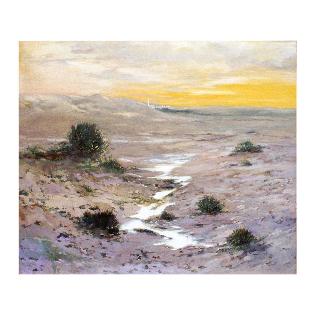 rashid al khalifa artwork landscape wadi in sakhir