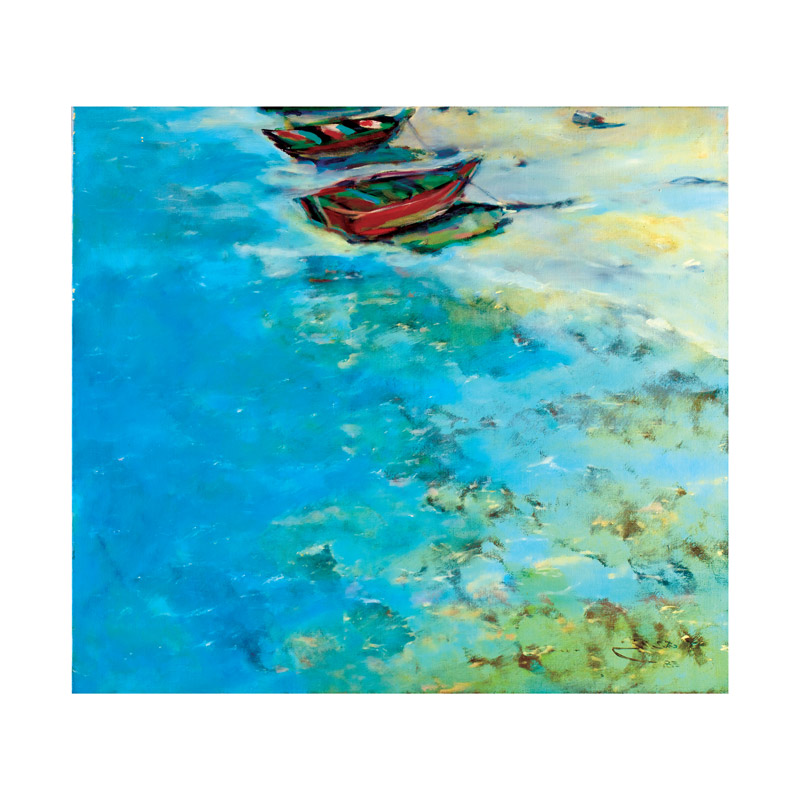 rashid al khalifa artwork oil on canvas boats