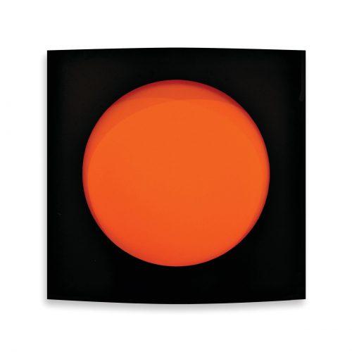 rashid al khalifa exhibition convex artwork black and orange 2014